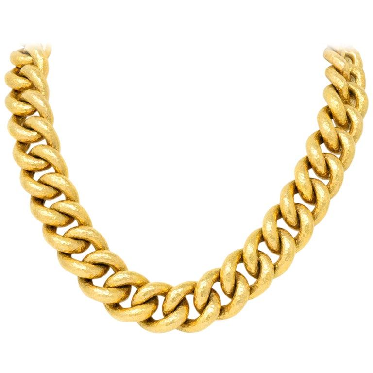 Contemporary 18 Karat Gold Link Necklace