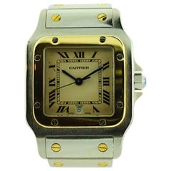 Cartier Santos Steel and 18 Karat Gold Quartz Watch with Original Bracelet