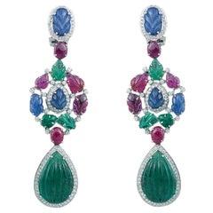 18K gold natural emerald, ruby, sapphire, diamond t dangling earrings