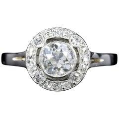 Antique Art Deco Diamond Cluster Ring Platinum Engagement 1.50 Carat
