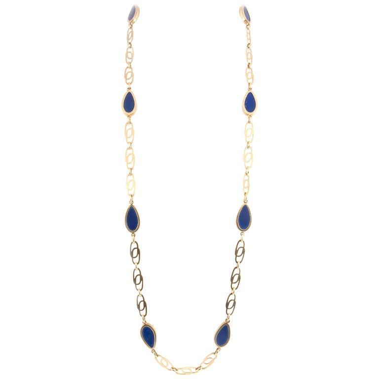 Vassellari Gold and Lapis Lazuli Long Chain Necklace