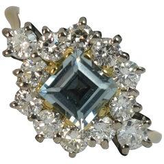 Natural 1.07 Carat Diamond and Aquamarine 18 Carat Gold Cluster Ring