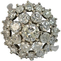 Bling 18 Carat White Gold and 2.00 Carat Diamond Cluster Cocktail Ring