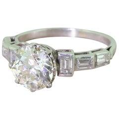 Art Deco 2.49 Carat Old Cut and Baguette Cut Diamond Platinum Engagement Ring