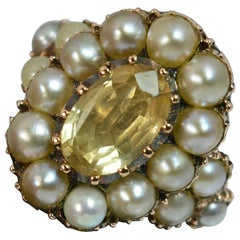 George III 15 Carat Gold Yellow Topaz and Pearl Cluster Ring