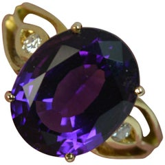 Large Amethyst and Diamond 14 Carat Gold Solitaire Cocktail Ring