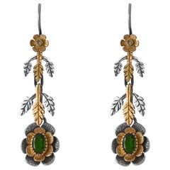 Emma Chapman Tsavorite Diamond 18 Karat Yellow Gold Silver Earrings