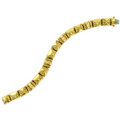 Etruscan Style Diamond 18 Karat Yellow Gold Square Link Bracelet