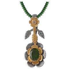 Emma Chapman Tsavorite Diamond 18 Karat Yellow Gold Silver Pendant