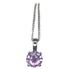 Pinkish Purple Unheated Sapphire 0.61 Carat Solitaire Platinum Pendant