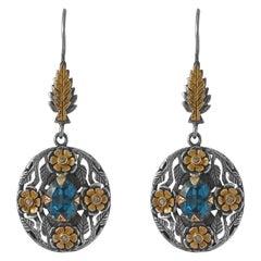 Emma Chapman Blue Topaz Diamond 18 Karat Yellow Gold Silver Chandelier Earrings