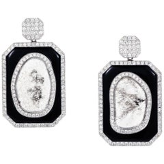Manpriya B Slice Diamond and Black Onyx Diva Earrings in 18 karat White Gold