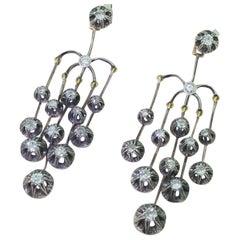 Victorian 2.70 Carat Diamond and Silver Chandelier Earrings