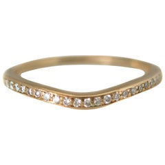 0.20 Carat Total Diamond and 14 Karat Yellow Gold Curved Wedding Band