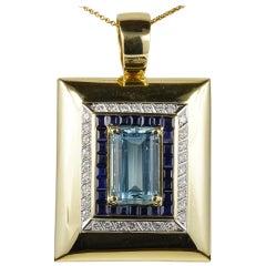 18 Karat Gold Jumbo Size Vintage Aquamarine Sapphire Diamond Pendant