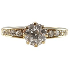Edwardian 18 Karat Yellow Gold 0.90 Carat Old Cut Diamond Ring