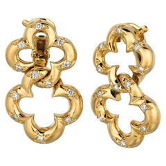 18 Karat Yellow Gold Double Clover Drop Earrings with Diamonds