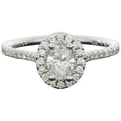 Martin Flyer White Gold GIA Certified Oval Diamond Halo Engagement Ring