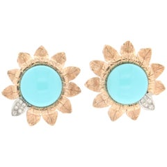 Turquoise 14 Carat Yellow and White Gold Diamonds Stud Earrings