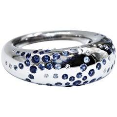Chaumet 18 Karat White Gold Sapphire Blue Diamonds Ring