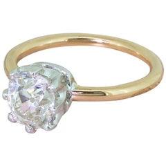 Midcentury 1.83 Carat Old Cut Diamond Engagement Rose Gold Ring
