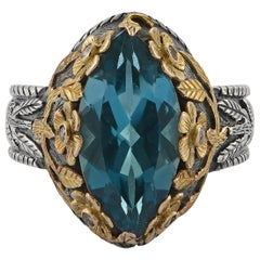 Emma Chapman Blue Topaz Diamond 18 Karat Yellow Gold Silver Cocktail Ring