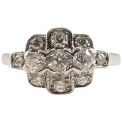 Art Deco Platinum 0.75 Carat Diamond Cluster Ring