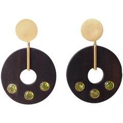 Ebony Gold Peridot Earrings