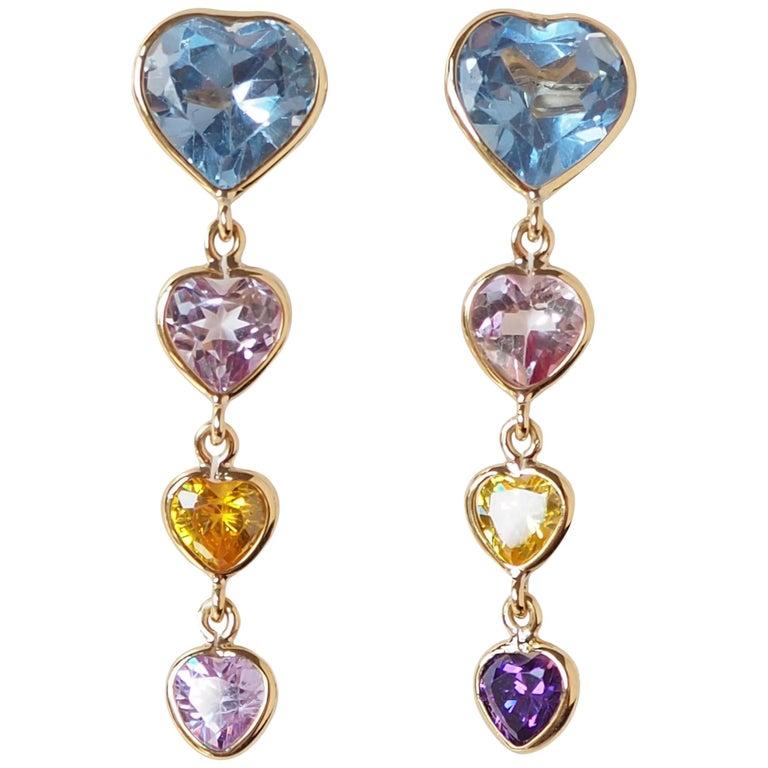 Heart Earrings Tourmaline Aquamarine Amethyst Gold