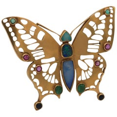 Andre Lamy Gold Butterfly Pin with Opal and Polychrome Gemstones