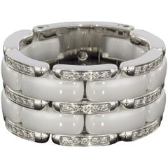 Chanel 18 Karat White Gold Diamond and White Ceramic Large Ultra Flexible Ring