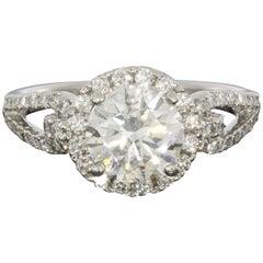 Simon G Platinum 2.04 Carat Round Diamond Passion Halo Engagement Ring