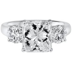 GIA Certified 3.04 Carat Radiant Cut Diamond Three-Stone Engagement Ring