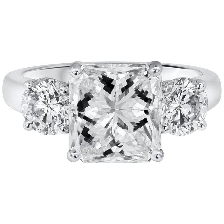 GIA Certified 3.04 Carat Radiant Cut Diamond Three-Stone Engagement Ring