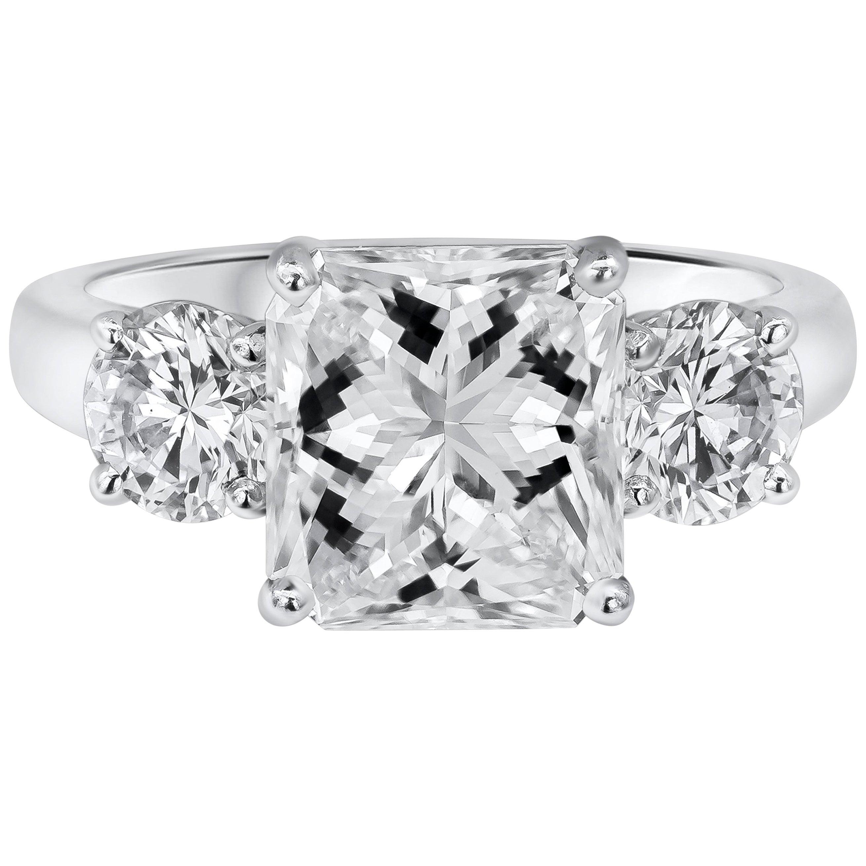 Roman Malakov, GIA Certified Radiant Cut Diamond Three-Stone Engagement Ring