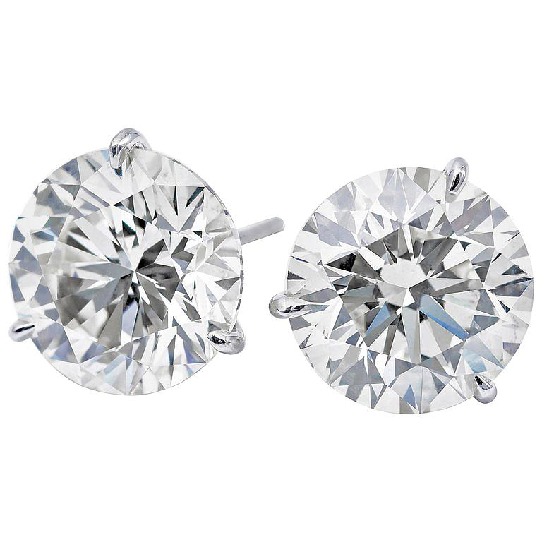 Diamond Stud Earrings, 2.02 Carat GIA Certified, F-G I1-I2 For Sale