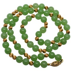 Antique Jadeite & 14 Karat Yellow Gold Beaded Necklace