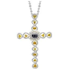 Cellini Jewelers 18 karat White Gold, 1.34 Ct. Fancy Diamond Cross Pendant