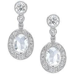 Platinum 1.34 Oval Rose Cut Diamond Hanging Earrings