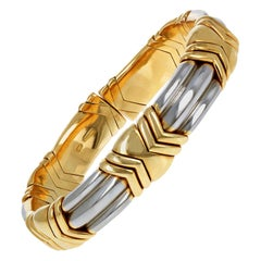 Vintage Bulgari Yellow Gold and Steel Bracelet