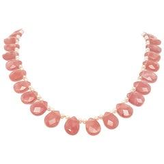14 Karat Rose Quartz Briolette and Pink Hue Pearl Necklace