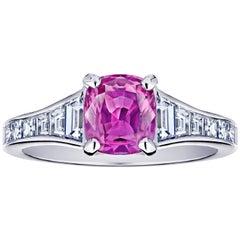 1.38 Carat Pink Cushion Sapphire and Diamond Ring