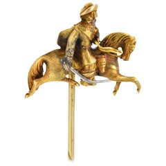 Victorian Platinum 14K & 18K Gold Solider Musketeer Hat Stick Lapel Pin