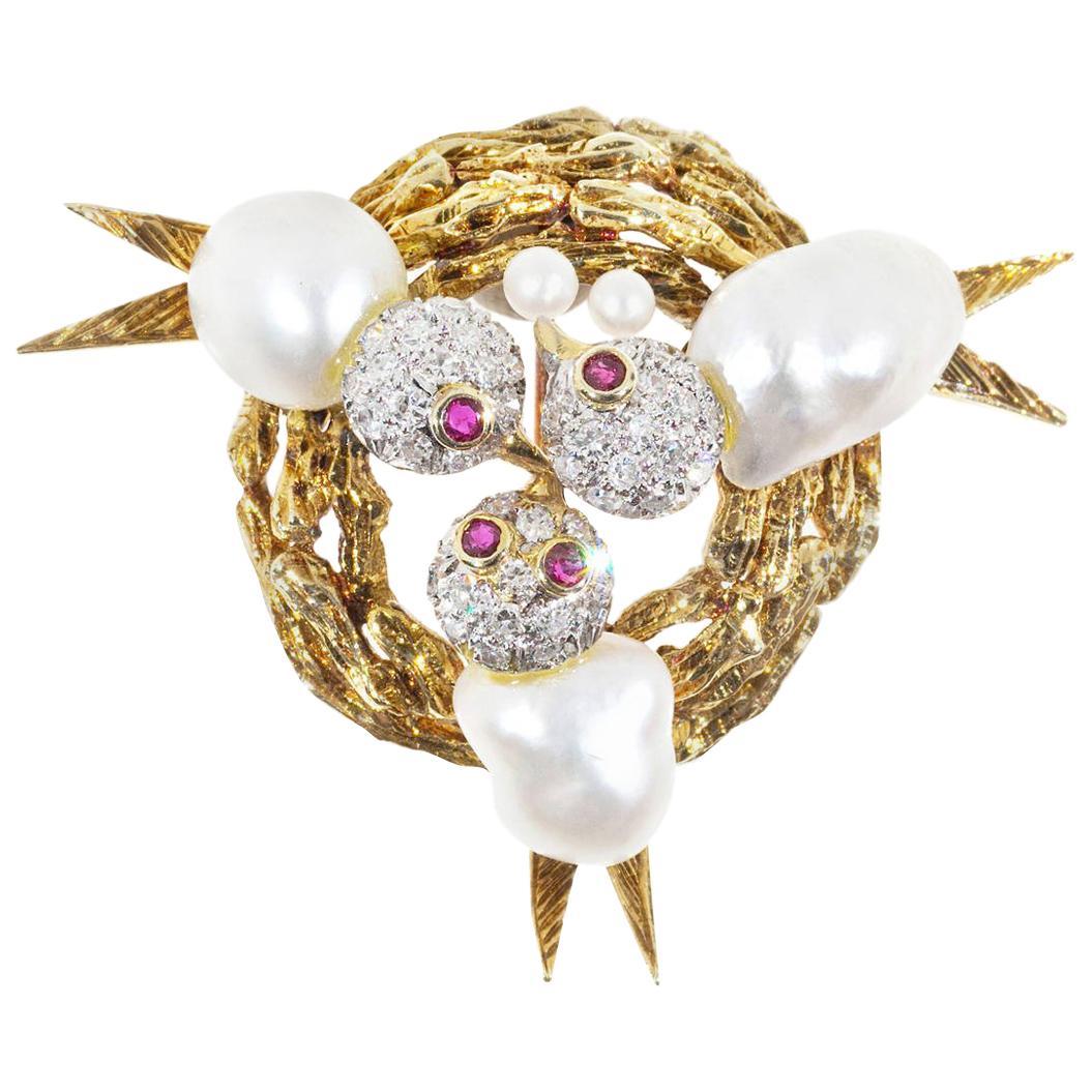 Trio Pearl Diamond Ruby Baroque Pearl Triple Bird Nest Brooch
