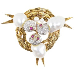 Trio Pearl Diamond Ruby Baroque Pearl Triple Bird Nest Brooch