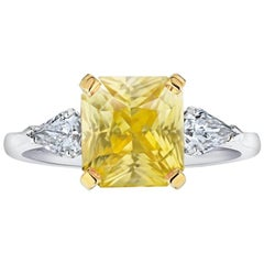 4.52 Carat Yellow Radiant Cut Sapphire and Diamond Ring