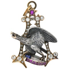 Anheuser Busch 1919 Diamond Ruby Enamel Sterling 14 Karat Gold Eagle Pendant