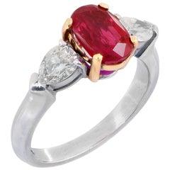 1.24 Carat Burma Ruby and Diamond Platinum and 18 Karat Yellow Gold Ring