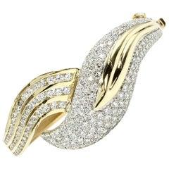 Diamond Leaf Design 18 Karat Gold Bangle Bracelet
