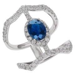 14 Karat White Gold 1.0 Carat Sapphire and 1.0 Carat Diamond Ring